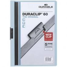 Cartellina con clip Durable DURACLIP® A4 - dorso 6 mm - capacità 60 fogli azzurro - 220906