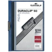 Cartellina con clip Durable DURACLIP® A4 - dorso 6 mm - capacità 60 fogli blu - 220907
