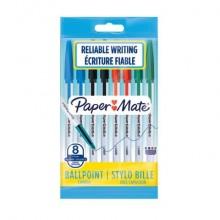 Penne a sfera con cappuccio Paper Mate PM 045 1 mm Nero/Blu/Rosso/Verde Conf. 8 pezzi - 2084416