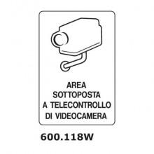 """Cartello di avviso """"Area sottoposta a telecontrollo di videocamera'' 20x15 cm Dixon Industries 600.118W"""