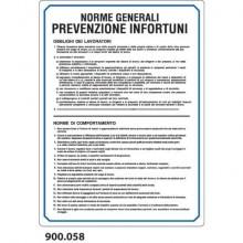 """Cartello normativo """"Norme generali prevenzione infortuni'' Dixon Industries 33x47 cm - 900.058"""