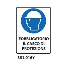 """Cartello di obbligo """"È obbligatorio il casco di protezione'' Dixon Industries 27x33 cm - 351.016Y"""