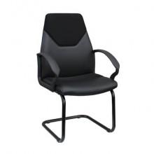 Sedia visitatore direzionale su slitta Unisit Guru GRV Eco Smart - rivestimento similpelle nero con braccioli - GRV/KN