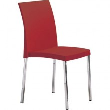 Sedia visitatore a 4 gambe Unisit Spessore SSSS base acciaio cromato - PPL rosso - SSSS/RO