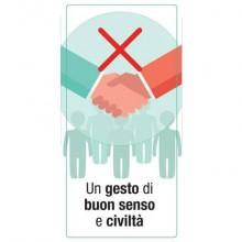 """Adesivo segnaletico """"Un gesto di buon senso e civiltà"""" (logo vietata stretta di mano) 15x30 cm multicolore - 30027"""