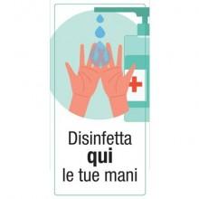 """Adesivo segnaletico """"Disinfetta qui le tue mani"""" 15x30 cm multicolore 30029"""