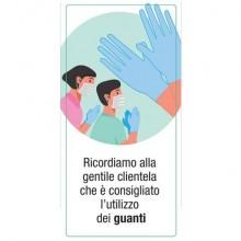 """Adesivo segnaletico """"Ricordiamo alla clientela che è consigliato l'utilizzo dei guanti"""" 15x30 cm - 30031"""