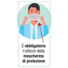 """Adesivo segnaletico """"È obbligatorio l'utilizzo della mascherina di protezione"""" 15x30 cm - 30033"""