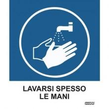 """Adesivo segnaletico Markin """"Lavarsi spesso le mani""""  in LWM - 12,5x15,2 cm Conf. 2 pezzi - X110COV-3"""