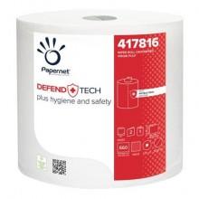 Bobina asciugatutto industriale Papernet Defend Tech - 2 veli 23,4x24,2 cm bianco pura cellulosa - 660 strappi - 417816