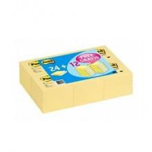 Foglietti riposizionabili Post-it® 654 Super Sticky Canary Yellow 76x76 mm - Value Pack 24+12 pad OMAGGIO 7100172239