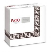 Tovaglioli piegati 1 velo Fato Tablewear 40x40 cm pura cellulosa decoro Mykonos cioccolato - Conf. 50 pezzi - 88446200