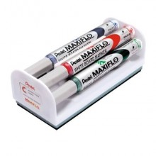 Set cancellino + 4 marcatori Pentel Maxiflo punta conica 4 mm - colori assortiti - MWL5S-4N