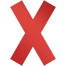 """Simbolo adesivo a forma di """"X""""  DURABLE 135x0,2x193 mm Rosso Conf. 5 pz  - 1049-03"""