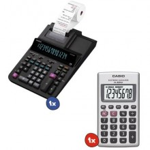 Kit 1 Calcolatrice scrivente Casio DR-320RE + Calcolatrice tascabile Casio a 8 cifre