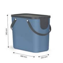 Cestino impilabile per raccolta differenziata Rotho Albula 2 maniglie blu 25 L - F707533