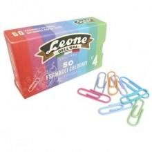 Fermagli colorati plastificati Leone N° 4 - 32 mm in scatola di cartone da 50 pezzi - assortiti - FXP5