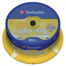 DVD+RW Verbatim 4x 4.7 GB  in confezione da 25 dvd+rw - 43489