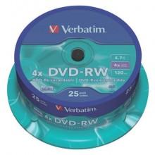DVD-RW Verbatim 4.7 GB  in confezione da 25 dvd-rw - 43639