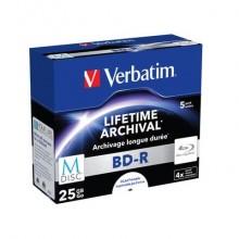 Blue-Ray BD-RE M-Disk Verbatim 4x 25 GB  Conf. 5 pezzi - 43823