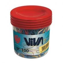 Elastici Viva in barattolo in gomma colore e formati assortiti conf.100 gr - C101