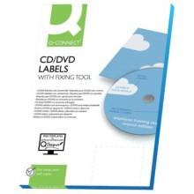 Etichette universali Q-Connect per CD/DVD Ø 116 mm bianco 2. et/foglio Conf. 25 fogli - KF01579