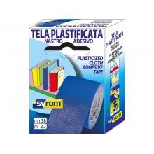 Nastro adesivo in tela Tes 702 SYROM formato 38 mm x 2,7 m - materiale tela plastificata blu - 7576