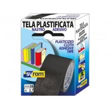 Nastro adesivo in tela Tes 702 SYROM formato 38 mm x 2,7 m - materiale tela plastificata nero - 7577