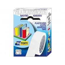 Nastro adesivo in tela Tes 702 SYROM formato 19 mm x 2,7 m - materiale tela plastificata bianco - 7571
