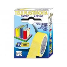 Nastro adesivo in tela Tes 702 SYROM formato 19 mm x 2,7 m - materiale tela plastificata giallo - 7566