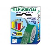 Nastro adesivo in tela Tes 702 SYROM formato 19 mm x 2,7 m - materiale tela plastificata verde - 7567