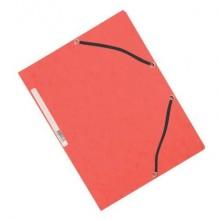 Cartellina a 3 lembi con elastico Q-Connect 24,3x32 cm cartoncino manilla 32x24,3 cm 375 g/m² rosso - KF02165 (Conf.10)