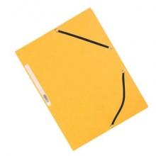Cartellina a 3 lembi con elastico Q-Connect 24,3x32 cm cartoncino manilla 375 g/m² giallo - KF02166 (Conf.10)