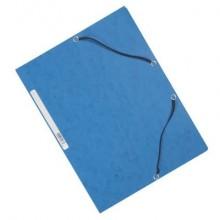 Cartellina a 3 lembi con elastico Q-Connect 24,3x32 cm cartoncino manilla 375 g/m² blu - KF02167 (Conf.10)