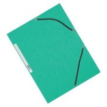 Cartellina a 3 lembi con elastico Q-Connect 24,3x32 cm cartoncino manilla 375 g/m² verde - KF02168 (Conf.10)