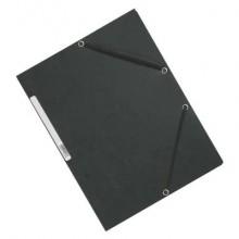 Cartellina a 3 lembi con elastico Q-Connect 24,3x32 cm cartoncino manilla 375 g/m² grigio - KF02169 (Conf.10)