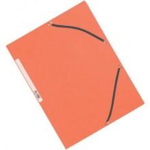 Cartellina a 3 lembi con elastico Q-Connect 24,3x32 cm cartoncino manilla 375 g/m² arancio - KF02170 (Conf.10)