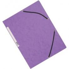 Cartellina a 3 lembi con elastico Q-Connect 24,3x32 cm cartoncino manilla 375 g/m² viola - KF02171 (Conf.10)