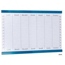 Planning settimanale magnetico SGS 90x60 cm. - bianco con rigature blu petrolio GR 451
