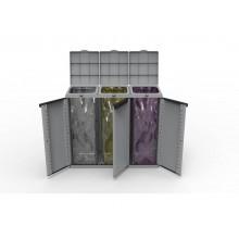 Armadietto a tre ante raccolta rifiuti TERRY Eco Cab 3 grigio/nero 1002765