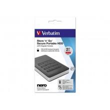 Hard Disk Esterno Store'n' Go Secure 3.1 Verbatim 2 TB nero - 53403