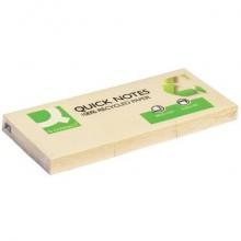 Foglietti riposizionabili Q-Connect 100x100 materiale riciclato 65 g/m² giallo 38x51 mm  12 blocchetti da 100 ff - KF22367