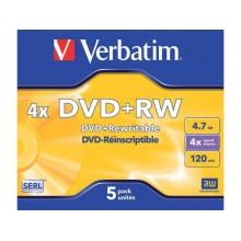 DVD+RW Verbatim 4x 4.7 GB  Conf. 5 pezzi - 43229