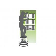 Sgabello tondo Q-Connect h 43 cm con rotelle in metallo grigio chiaro KF04844