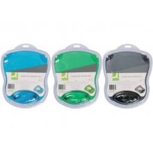 Tappetino per mouse Q-Connect con poggiapolsi in gel 22x26x2,8 cm grigio trasparente - KF20084