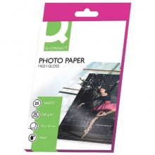 Carta fotografica Inkjet Q-Connect 10x15cm bianco 260 g/m² lucida conf. da 25 fogli - KF01906