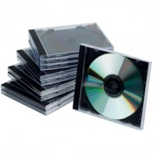 Porta CD/DVD Q-Connect Jewel case standard sp. 10 mm nero/trasparente conf. 10 pezzi - KF02209