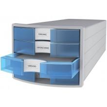 Cassettiera IMPULS HAN in polistirolo con 4 cassetti chiusi grigio/trasparente-blu - 1012-64