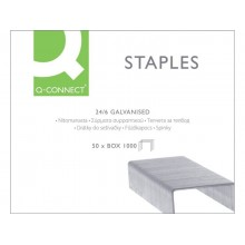 Punti zincati per cucitrice Q-Connect 24/6 argento scatola da 1000 punti - KF01278