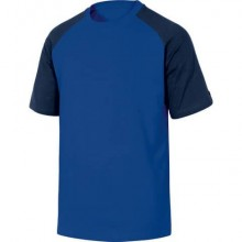 T-Shirt Mach Delta Plus bicolore girocollo manica cotone azzurro-blu - XL - GENOABMXG